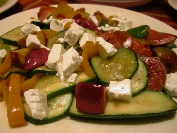 Fig, Cougette and Apple salad with Feta Cheese